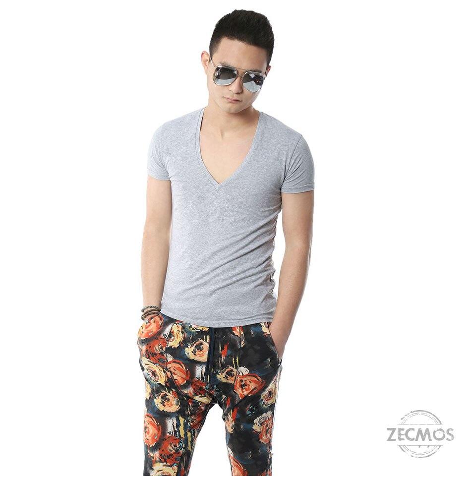 Zecmos Deep V Neck Sexy Men T-Shirt Vintage Short Sleeve Solid Color Muscle Fit T Shirt Men Top Tees Fashion 9