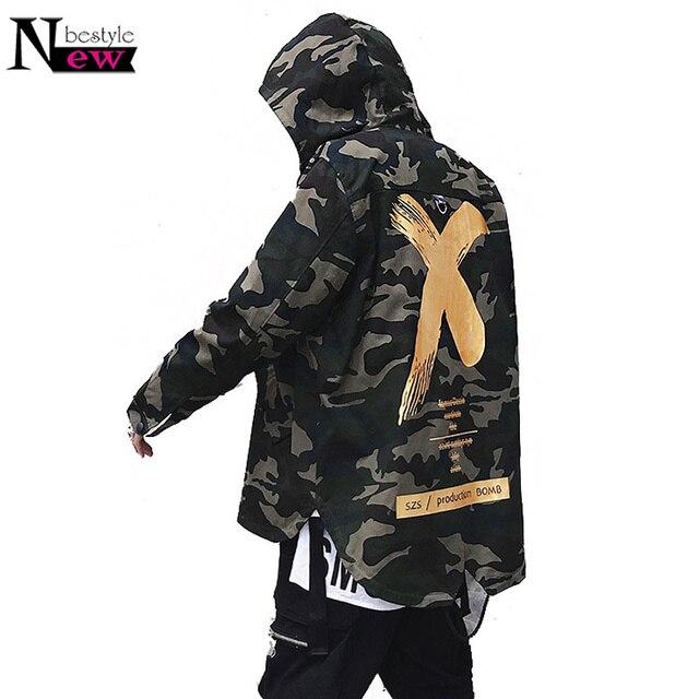 34c39ea8f16ba 2019 Fashion Printed X Coat Long Sleeve Jackets Men Women Hip Pop Camo  Trench Coat Red Headwear Hoody Windbreakers Jackets Coat