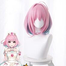 O IDOLM CINDERELA MENINAS Yumemi Riamu Cosplay Peruca Sintética Reta Curta para As Mulheres Game Anime Cos Peruca Rosa Gradiente Verde