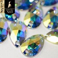 クリスタル城ガラス縫製石abクリスタルラインストーンで縫うドロップオーバルナベットダイヤモンド葉売春穴ラインストーン用ドレス