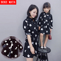 Matching Mother Daughter Dresses 2016 Spring Fashion Long Family Look Clothes Star Cotton Print Mom And Baby Girl Dress Clothing