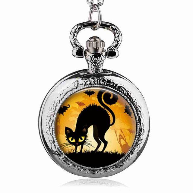 Fashion Lovely Cute Cat Black/Silver/Bronze Quartz Pocket Watch Analog Pendant N