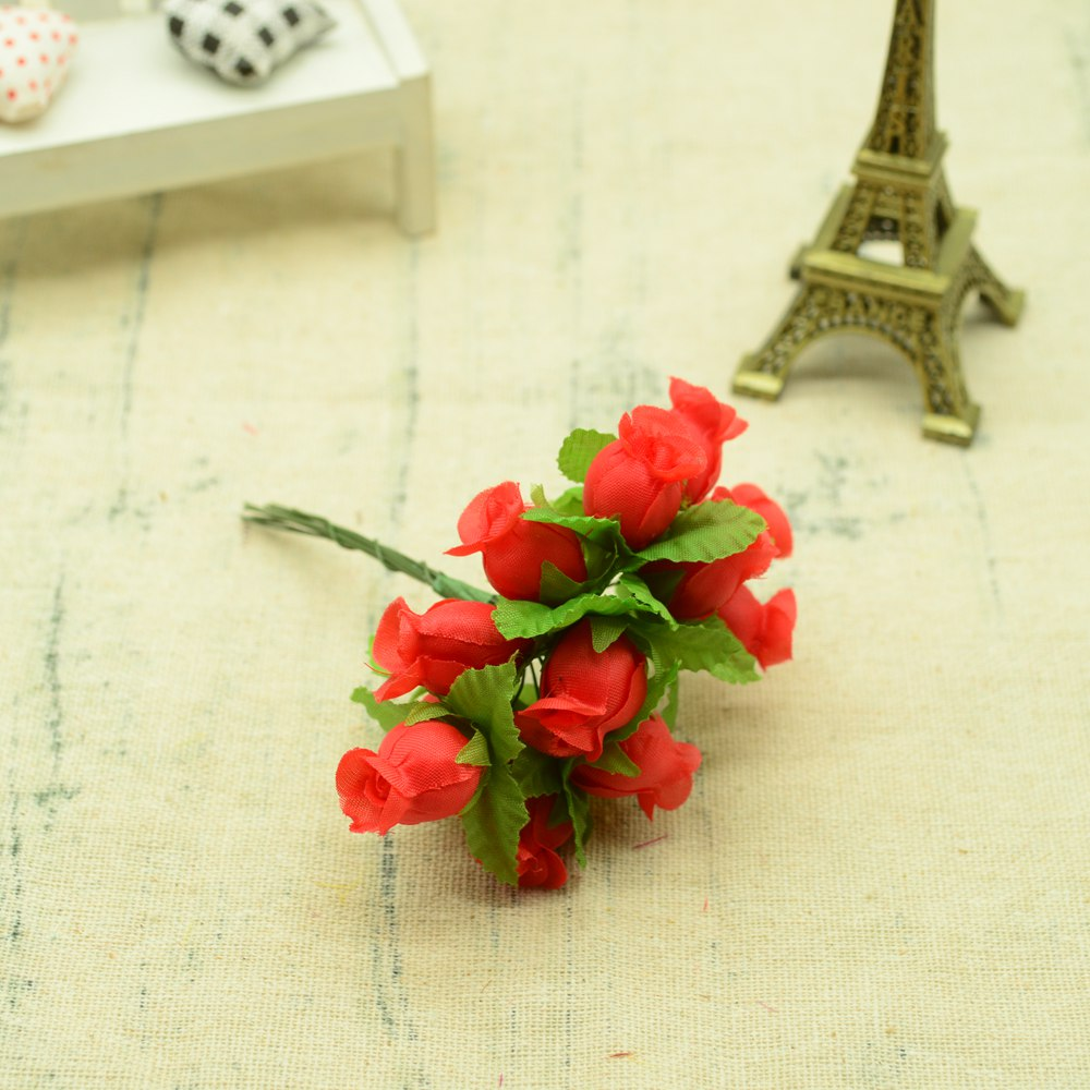 12pcs Silk Roses Artificial Flowers Bouquet for Home And Wedding Decoration Accessories 20