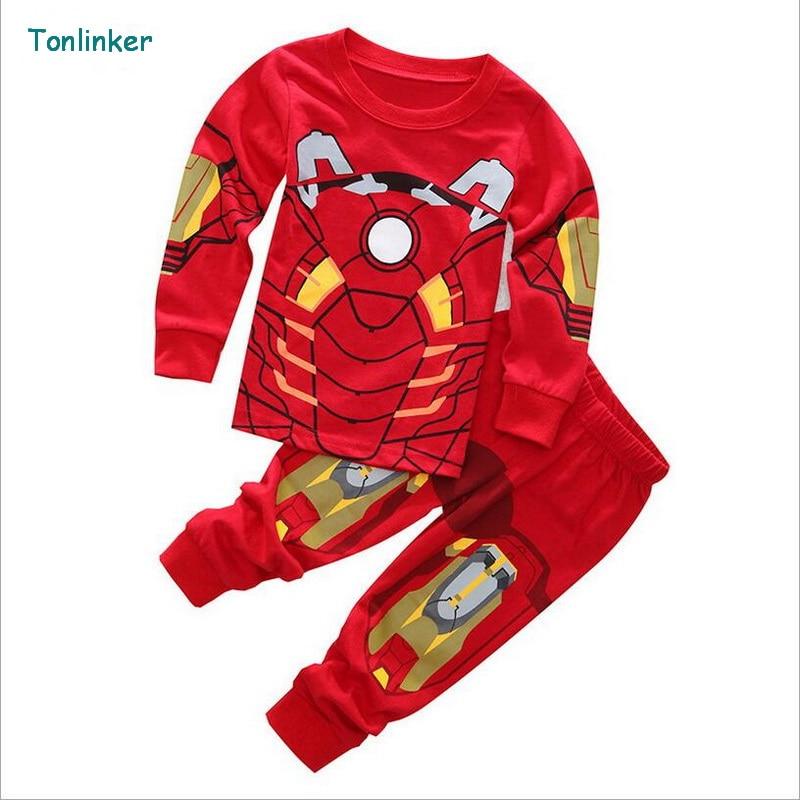 Tonlinker <font><b>SpiderMan</b></font> Children Clothing Sets Cartoon <font><b>Toddler</b></font> Baby Sleepwear Christmas Cosplay <font><b>Costume</b></font> Kids Pajama tracksuit Set