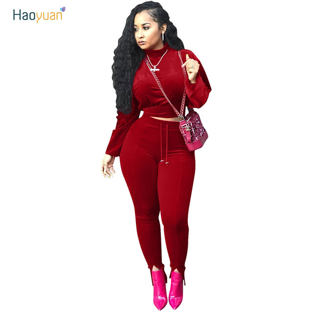 215686a6c87 HAOYUAN Autumn Women Velvet Two Piece Outfit Set Winter Velour Crop Top And  Bodycon Pants Sweatsuits Womens 2 Pcs Sets Tracksuit