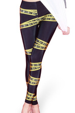 Europe Hot New Women Sexy Hip Leggings Trousers Slim Stretched Yoga Fitness Tights Yellow Warning  Design Digital Print Pants