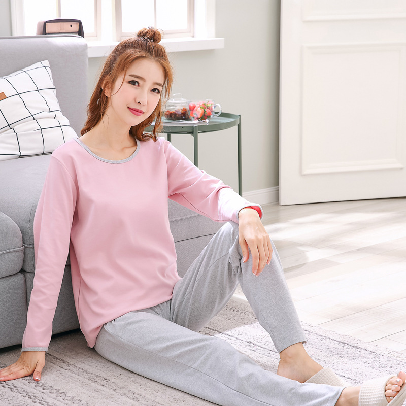 2019 Women Pajamas Sets Autumn Winter New Women Pyjamas Cotton Clothing Long Tops Set Female Pyjamas Sets NightSuit Mother Sleep 114