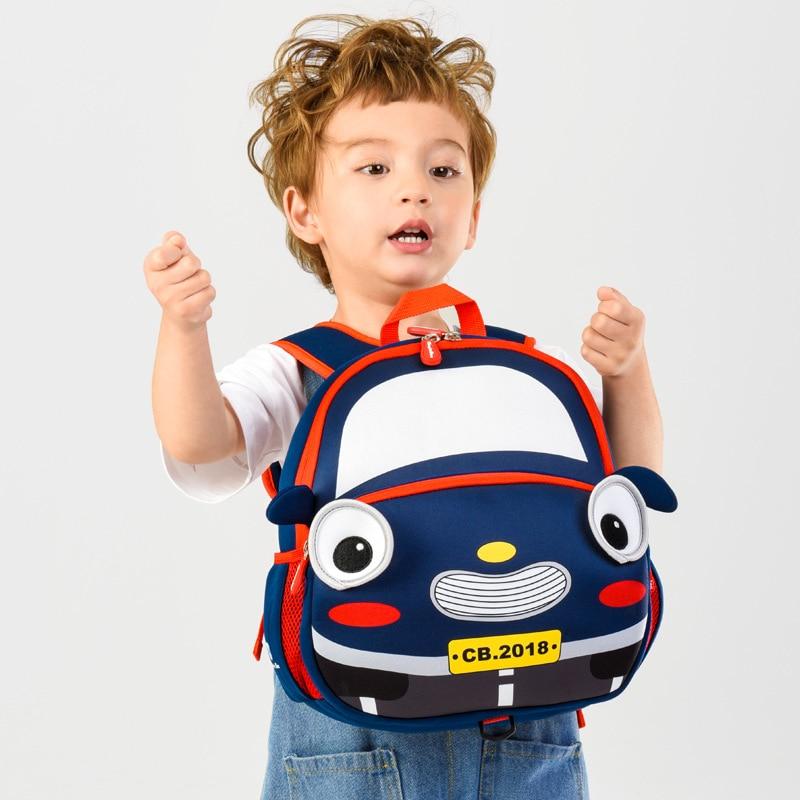 3D Cartoon Car School Bags For 3-6 Years Old Kids Waterproof Children School Backpacks Girl Boys Schoolbag Bag Mochila Infantil