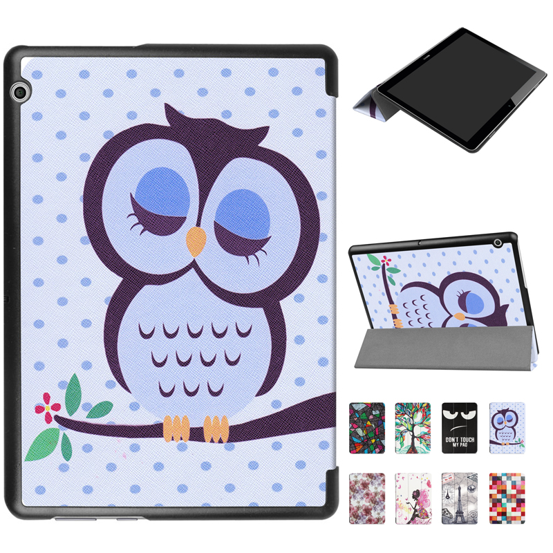 T3 9.6 Painted Leather case Flip Cover for Huawei Mediapad T3 10 10.0 10.1 AGS-L03 AGS-L09 Wifi AGS-W09 tablet case smart cover