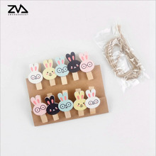 10 pcs/pack korean creative Spring Clips  Clothespin Craft Material Wood Clip hemp rope classification clip