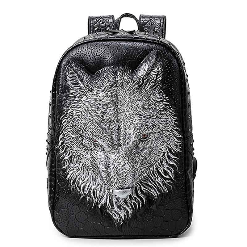 3D Printing Wolf Women Backpacks Men Backpack PU Leather School Bags For Teenagers Backpack Brands Designer Large Capacity Bags