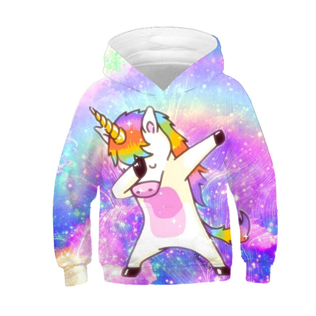 New 2019 Children Fashion Dab Anime Hoodies Boys Girls Funny Sweatshirts Dabbing Unicorn Colorful Galaxy Kids Pullovers Tops