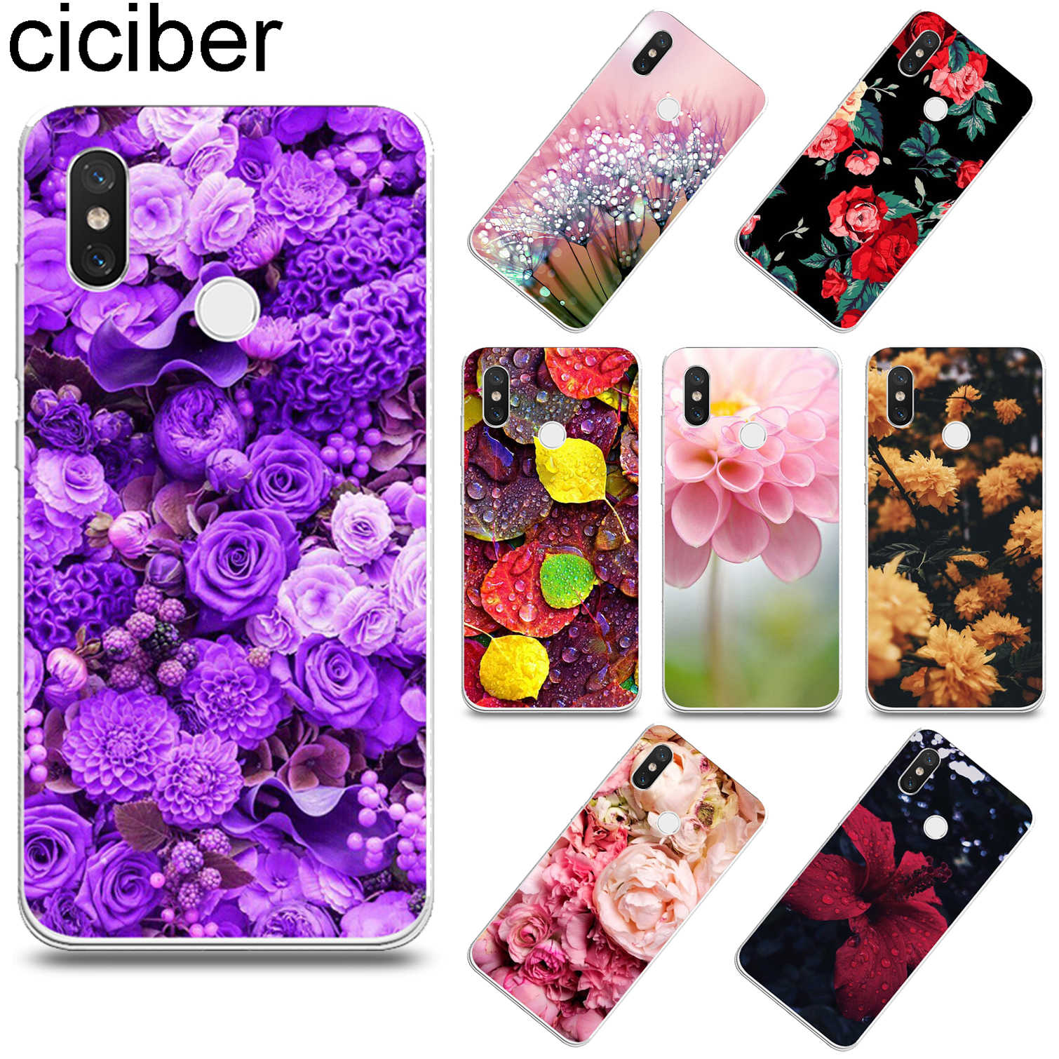 ciciber Lotus peony for Xiaomi mi 9 8 6 5 A2 A1 X 5C 5S Plus Lite SE Poco Phone F1 Soft TPU Cases for Xiaomi MIX MAX 3 2 2s Pro