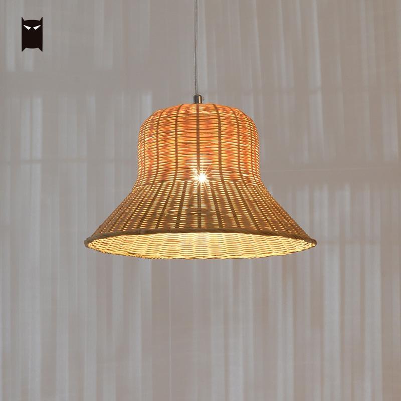 32cm Bamboo Wicker Rattan Shade Pendant Light Fixture ...