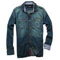 Homens Camisa 2016 da marca homens Camisa manga longa Denim Casual Camisa moda Slim Mens Jeans camisas Plus Size Camisa Jeans Masculina