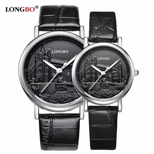 LONGBO Top Brand Luxury Men Women Watches Genuine Leather Strap Quartz Watch Couple Sports Wristwatch Relogio Feminino Relojes