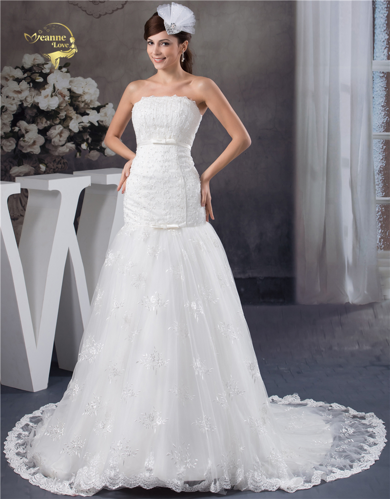 Jeanne Love Lace Tulle Beading Mermaid Wedding Dresses 2019 Gorgeous Strapless Bow Robe De Mariage JLOV75975