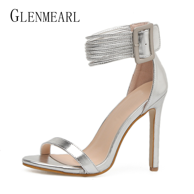 Brand Summer High Heels Shoes Women Sandals Ankle Strap Thin Heel Woman  Sandals Peep Toe Sliver Sexy Female Wedding Shoes Size45 7bde146d4eb2