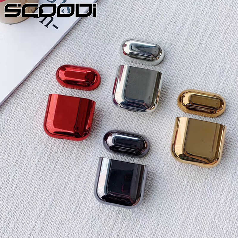 electroplated hard shell earphone shell for Apple Airpods protective case luxury gold box all new Anti-fall cover For airpods 2