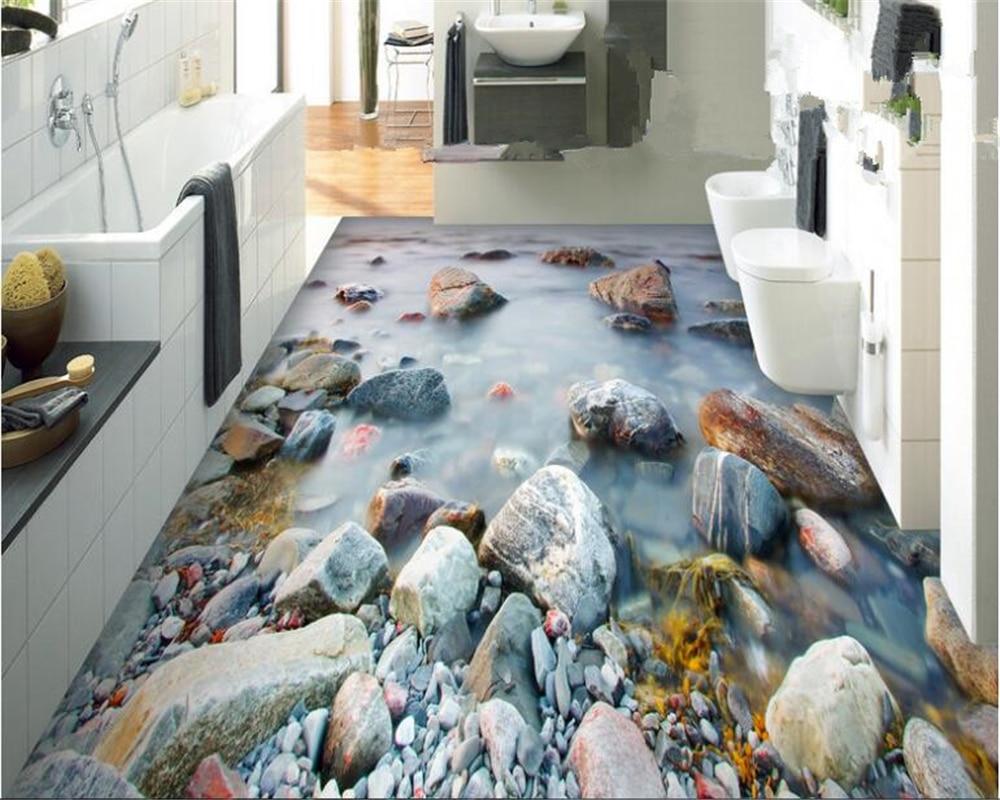 beibehang Custom fashion pvc high quality aesthetic wallpaper seaside stone cloud bathroom 3d flooring painting 3d wallpaper