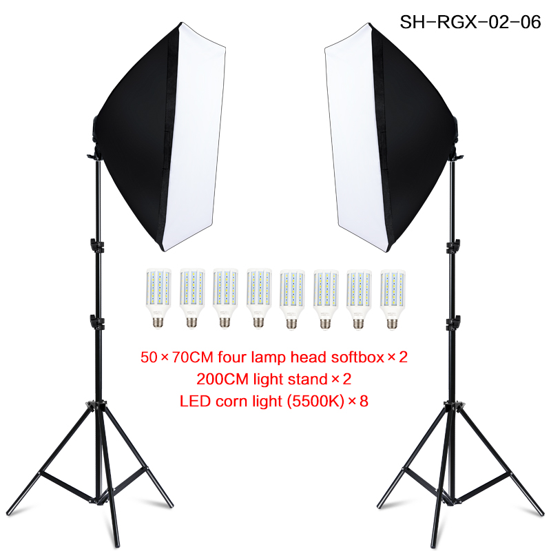 Photography Softbox Lightbox Kit 8 PCS E27 LED Photo Studio Camera Lighting Equipment 2 Softbox 2 Light Stand with Carry Bag