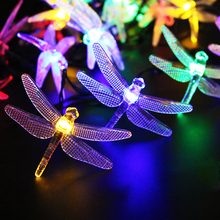 5M 20 Led dragonfly Solar Led String with solar panel strip light Outdoor IP65 Waterproof use in Garden square decor LH