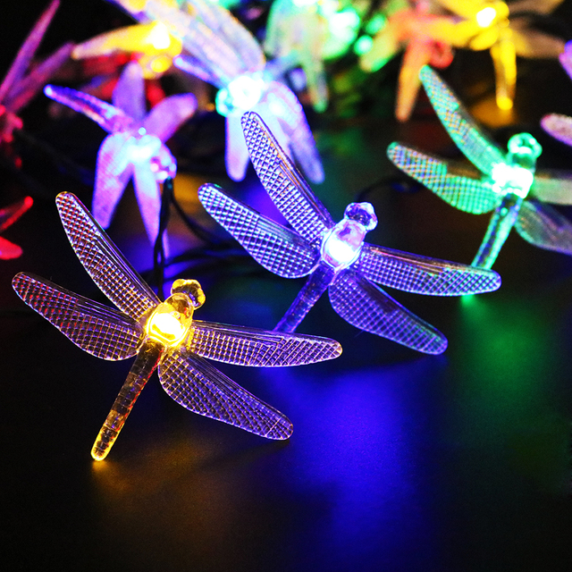 5M 20 Led dragonfly Solar Led String with solar panel strip light Outdoor IP65 Waterproof use in Garden square decor UR