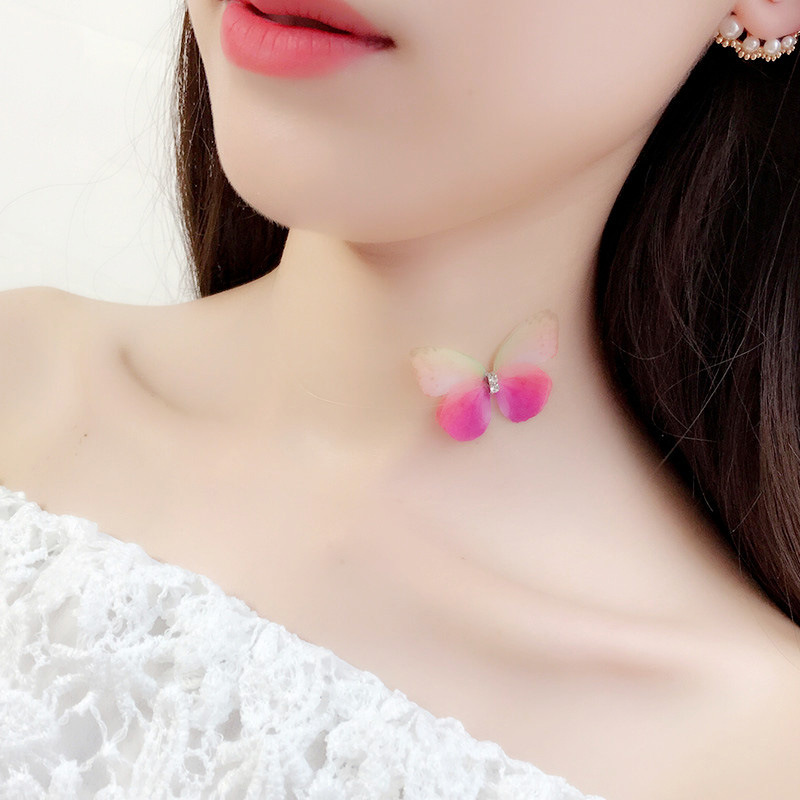 Transparent invisible fishline tulle butterfly necklace beautiful collarbone chain short simple neck band soft style choker