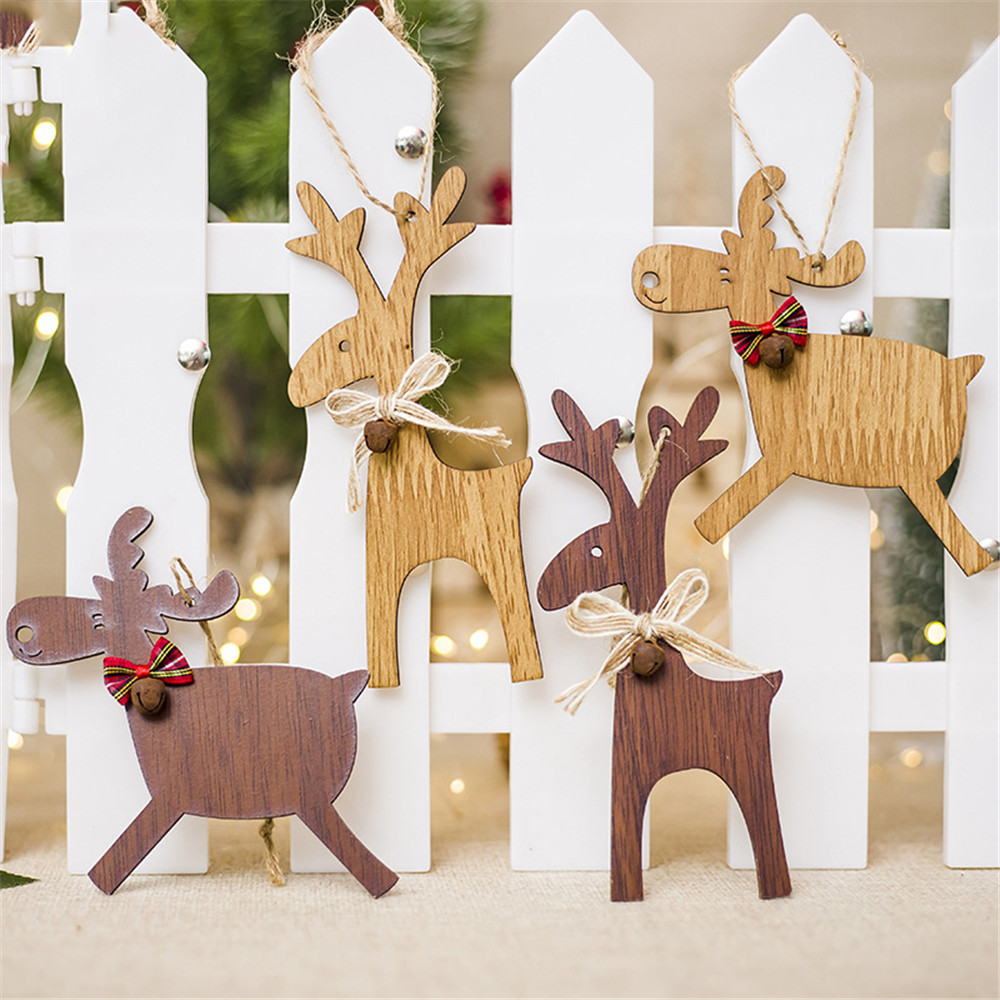 Christmas Deer Wooden Pendants Ornaments For Xmas Tree DIY Ornament Christmas Party Decorations Kids Gift Hanging Drop Ornaments