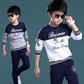 Спортивные костюмы для мальчиков высокое качество хлопок детская одежда буква т - + брюки 2 шт. мальчиков одежда для мальчиков дети костюмы