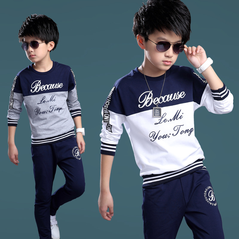751540dfab49 Sports Suits For Boys High Quality Cotton Children Clothing Letter T ...