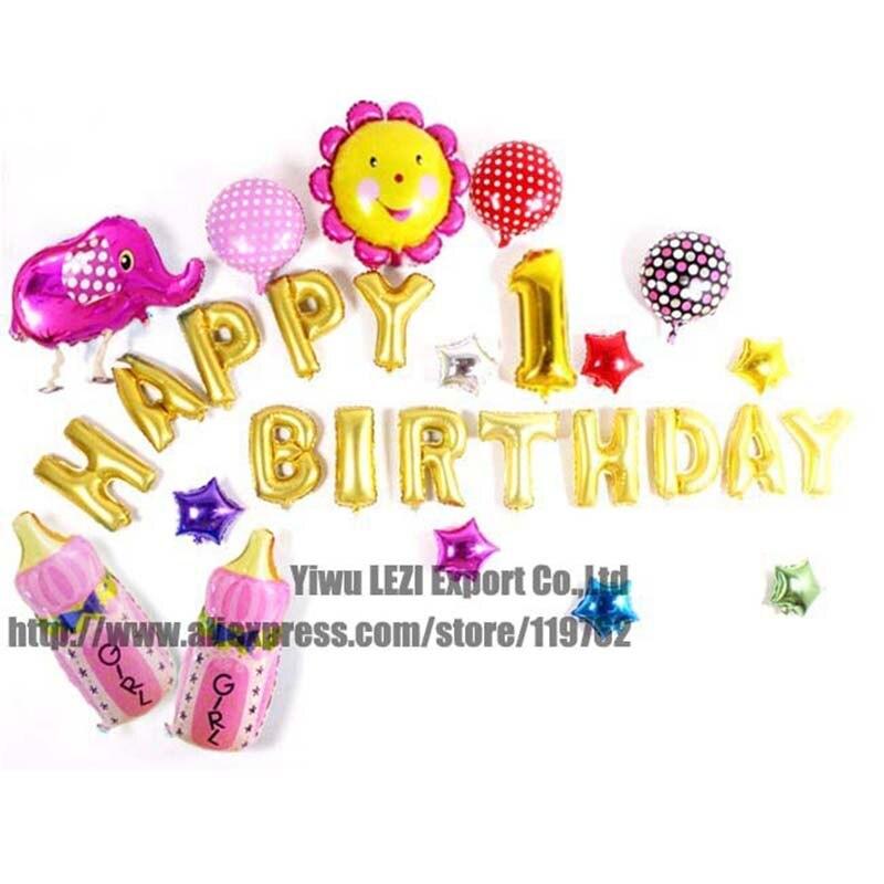 3a30b9beb Combinación 39 unids set ventas calientes nuevo feliz cumpleaños carta  globos de dibujos animados decoración del partido Venta caliente Rusia  Brasil