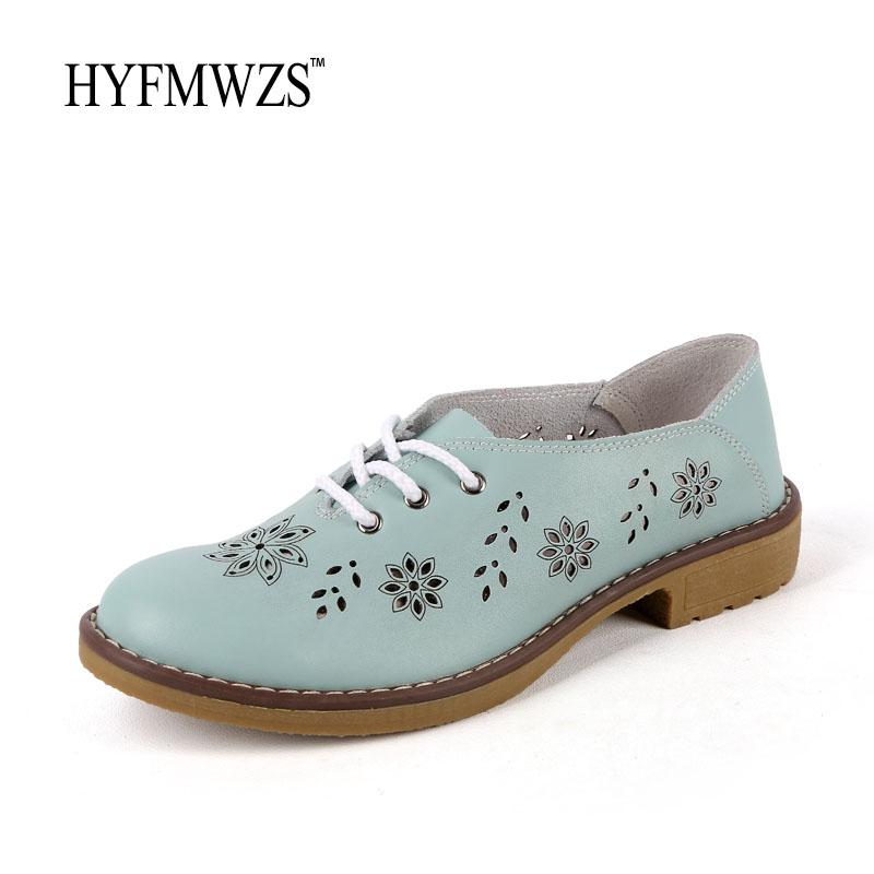 Big Size 35-42 Genuine Leather Hole Oxford Shoes For Women Flats 2017 Fashion Ballet Shoes Moccasins Breathable Zapatos Mujer timetang genuine leather shoes woman ballet flats oxford shoes for women lace up flat shoes four seasons fashion zapatos mujer