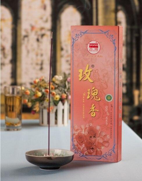 Bâtons d'encens rose naturel, 32.5 cm + 400 pièces + 60mins. haute qualité, fabriqué sans bambou pour un parfum pur. encens Gucheng bien connu.