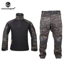 Emersongear g3 эмерсон bdu равномерное рубашка брюки наколенники airsoft тактический камуфляж одежда мультикам черный mcbk