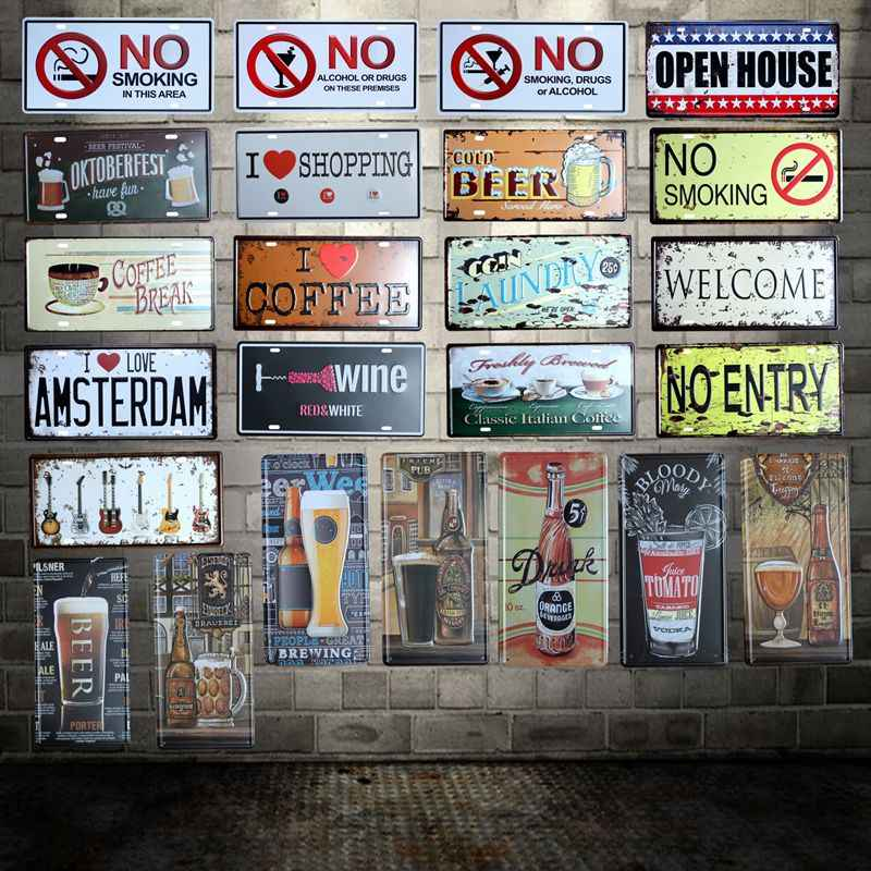 [ WellCraft ] Beer coffee Guitar No Smoking  License plate signs  Wall Plaque Poster Decor for Cafes Welcome Painting HY-1709
