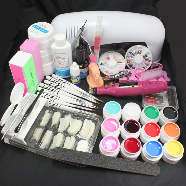 Pro Nail Art 9W UV Gel Lamp Brush Nail Art Tips Kits Tool & Electric File Drill #22