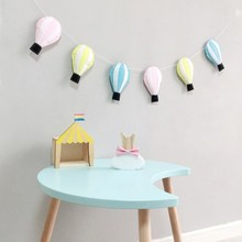 Ins Nordic Flet Hot Air Balloon Garlands Kids Room Decoration Wall Hanging Ornament Tent String Pull Flower Pendant Home Decor