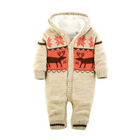 MUQGEW Baby Rompers Winter Thick Climbing Clothes Newborn Boys Girls Warm Romper Knitted Sweater Christmas Deer