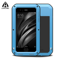 Love mei Aluminum Metal Cover For Xiaomi Mi6 Cases Armor Shockproof +Gorilla Glass Full Body Phone Cover For Xiaomi MI 6 Case