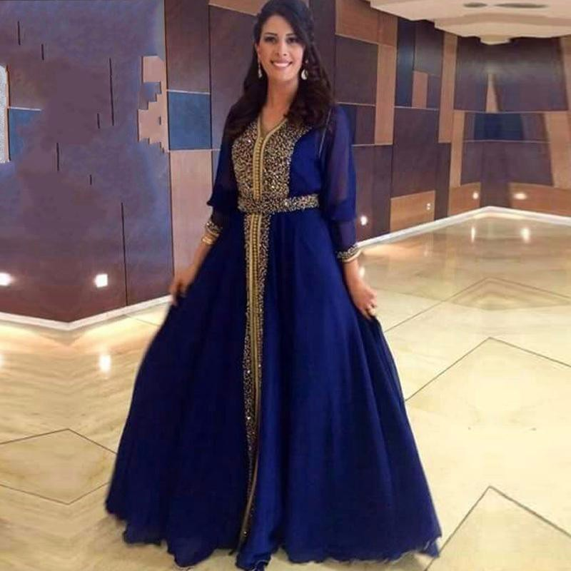 9d67e5ed202d9 Saudi Arabia Plus Size Moroccan Kaftan Women Formal Party Gowns Dubai Royal  Blue Chiffon Prom Gowns Long Sleeves Evening Dresses-in Evening Dresses  from ...
