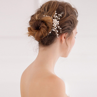 1pc Lot Fashion Bridal Hair Comb Elegant Crystal Pearl Beads Floral Wedding Jewelry In The Hair