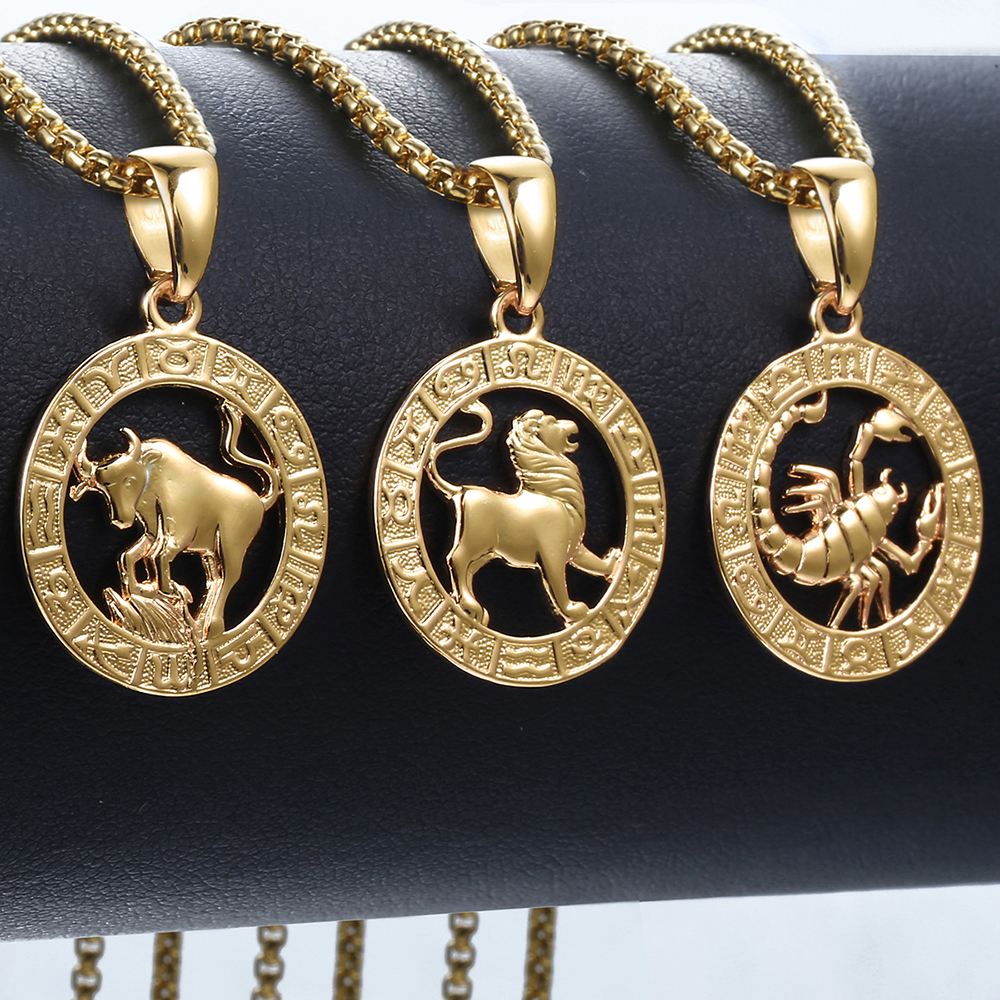 Men's Women's 12 Horoscope Zodiac Sign Gold Pendant Necklace Aries Leo Wholesale Dropshipping 12 Constellations Jewelry GPM24(Hong Kong,China)