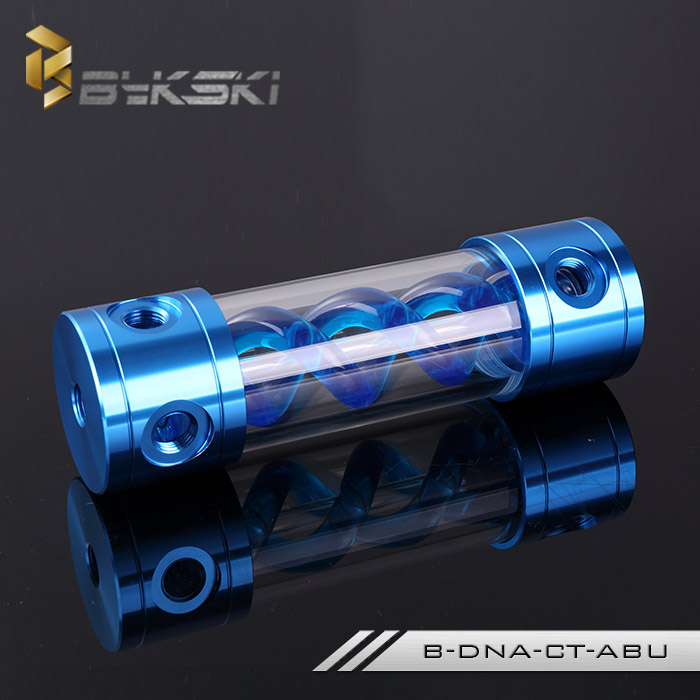 все цены на BYKSKI 185MM X 50MM T-Virus Cylindrical Water-Coolant Tank Double Helix Aluminum+ Acrylic 6 holes Blue with Light B-DNA-CT-ABU онлайн