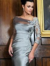New Elegant Silver Sheath/Column 3/4 Sleeves Strapless Satin Knee-Length Applique Mother of the Bride Dresses 2015