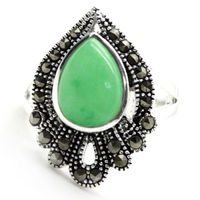 RARE NATURAL GREEN JADE GEMS MARCASITE 925 STERLING SILVER RING SIZE 7 8 9 10