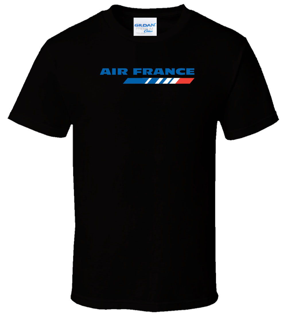 2018 New Brand-Clothing T Shirts Casual cotton t-shirt Air France Black Men Casual cotton t shirt Summer Short Sleeve Plus Size