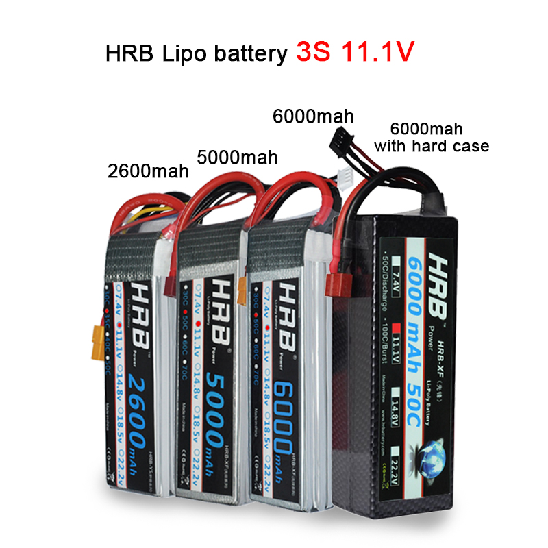 Image 3 - HRB Lipo 3S 4S 11.1V 14.8V 5000mah 2S 6S 7.4V 22.2V Battery 2200mah 2600mah 3300mah 6000mah T For TRAXXAS 1:10 RC Car FPV Boat-in Parts & Accessories from Toys & Hobbies