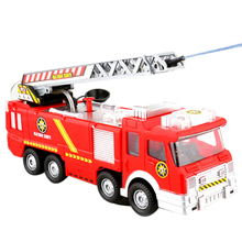 Water Spray Fire Truck Toy Car Firefighter Sam Music Light Educational RC Remote Control