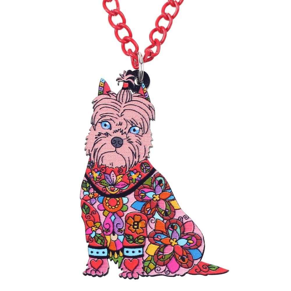 WEVENI Ban Đầu Nhựa Chó Schnauzer Choker Vòng Cổ Mặt Dây Chuyền Dây Chuyền Cổ Áo Hợp Thời Trang Hot Động Vật Đồ Trang Sức Bán Buôn Cho Phụ Nữ